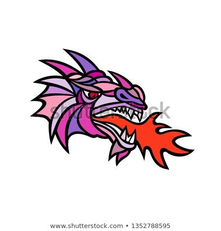 Mosaico mítico dragão respiração fogo mascote Foto stock © patrimonio