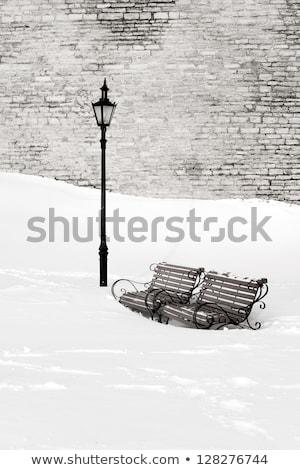 Houten bank lantaarn vector geïsoleerd iconen Stockfoto © robuart
