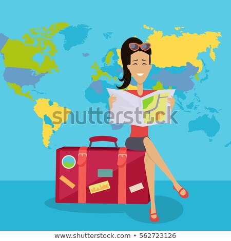 Smiling Brunette Woman Seating on Suitcase Stock photo © robuart