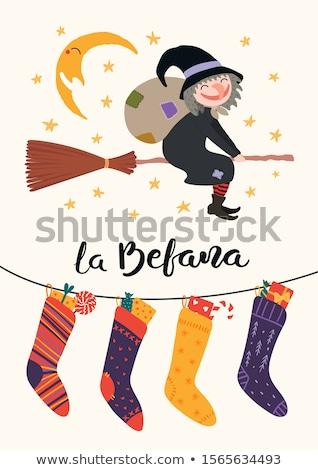 носок иллюстрация Рождества празднования метлой ведьмой Сток-фото © adrenalina