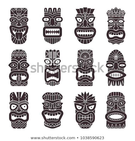 Tiki Idol Carved Wood Totem Monochrome Vector Stock photo © pikepicture