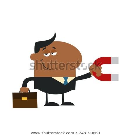 Glimlachend afro-amerikaanse manager magneet ontwerp Stockfoto © hittoon