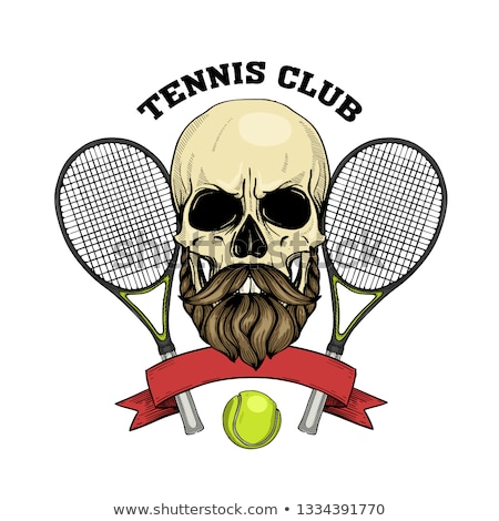 Sketch skull with tennis racquet Stock photo © netkov1
