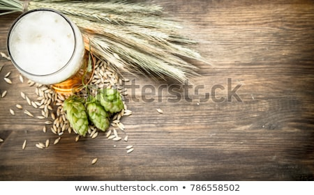 Glass of fresh green beer on a table in a bar. Stock photo © artjazz