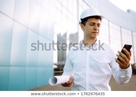 работник разработчик строительная площадка глядя плана законченный Сток-фото © Kzenon