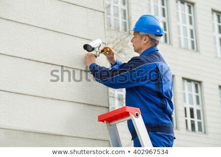 Cctv cámara primer plano técnico pared espacio Foto stock © AndreyPopov