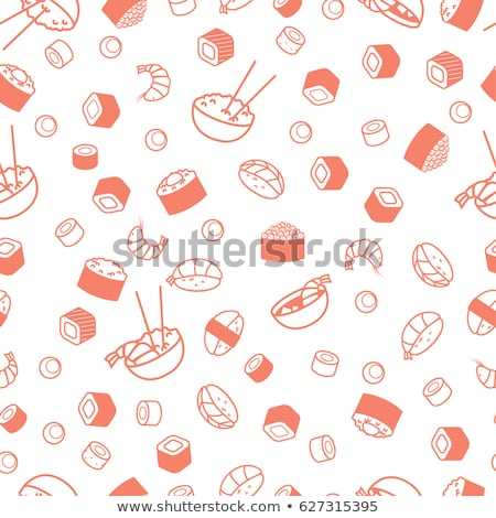 Tuna roll sushi seamless white pattern. Stock photo © yopixart