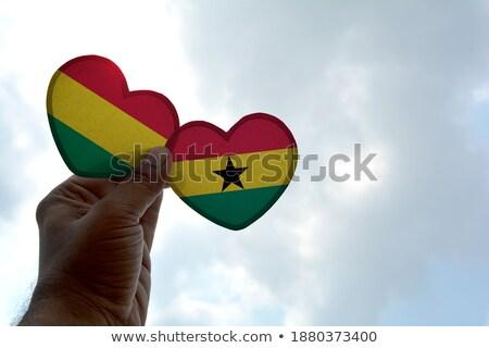 National flag of the Ghana in the shape of a heart and the inscription I love Ghana. Vector illustra Stock photo © butenkow