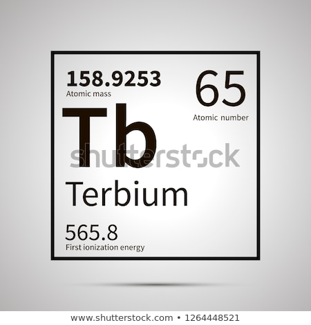 Terbium chemical element with first ionization energy, atomic mass and electronegativity values ,sim Stock photo © evgeny89