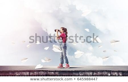Ayakta küçük kız teleskop kız çocuk yaz Stok fotoğraf © phbcz