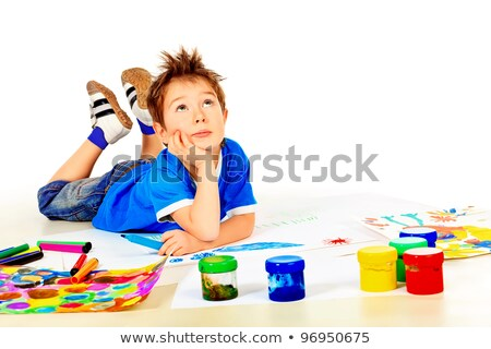 Boy thinking what to paint Stock photo © lovleah