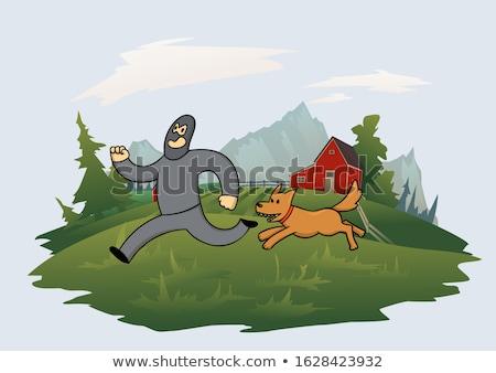 Rendőrség kutya rabló zöld farmer fut Stock fotó © raywoo