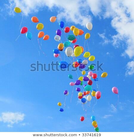 çok · balonlar · uçmak · gökyüzü · mavi · gökyüzü · parti - stok fotoğraf © Borissos