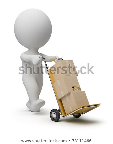 3d small persons carrying the hand truck with boxes boxes and v stock photo © dacasdo