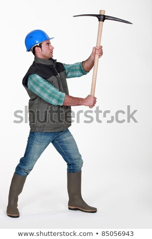 picture of craftsman holding pickaxe in profile Stock photo © photography33