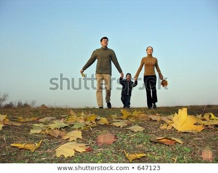 walking family sundown autumn leaves Stock photo © Paha_L