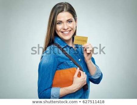 幸せ 若い女性 クレジットカード 白 ストックフォト © utorro