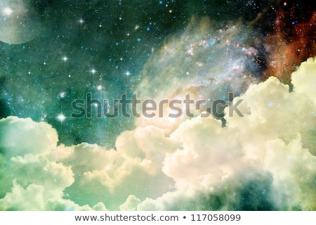 Space background with bright stars and moon Stock photo © m_pavlov