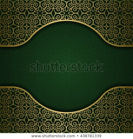Floral Arabesque Background In Green And Gold Stock photo © karolinal