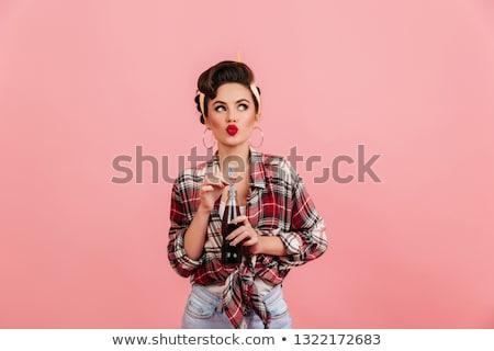 Retró stílus lány feketefehér fénykép csinos fiatal Stock fotó © mariematata