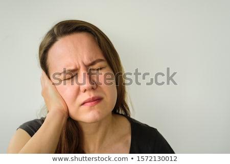 migren · baş · ağrısı · kadın · parmaklar · ağrı - stok fotoğraf © redpixel