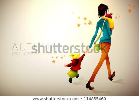 Najaar vrouw kinderen eps10 vrouwen Stockfoto © involvedchannel