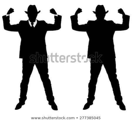 Maakt · een · reservekopie · silhouet · man · mode - stockfoto © arlatis