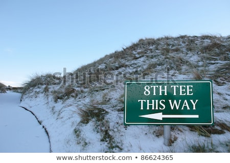 8th tee this way sign on a links golf course Stock photo © morrbyte