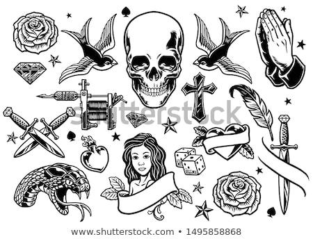 Stock fotó: Klasszikus · tetoválás · tavasz · rózsa · terv · felirat