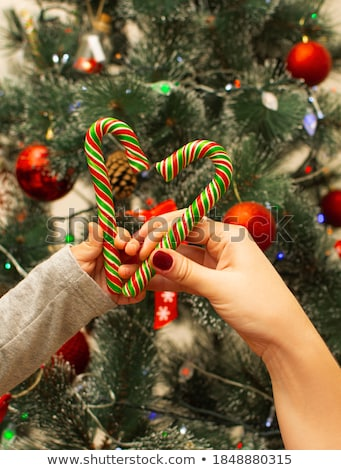 Stockfoto: Mooie · vrouwen · snoep · kerstboom · gelukkig · achtergrond