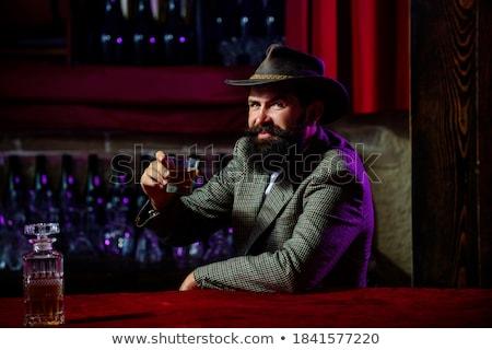 pijany · człowiek · oferowanie · butelki · whisky · biały - zdjęcia stock © acidgrey