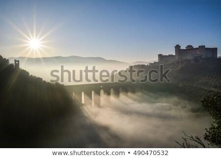 冬 村 霧の 日 ツリー 教会 ストックフォト © tepic
