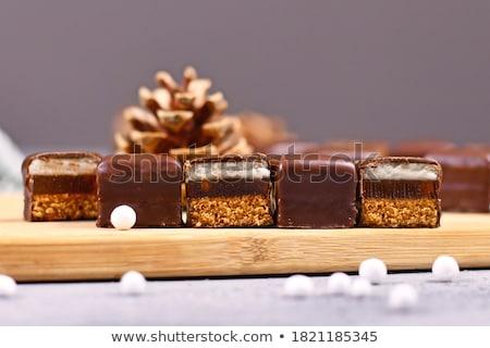 Csokoládé marcipán fehér terv vonal vág Stock fotó © FOKA