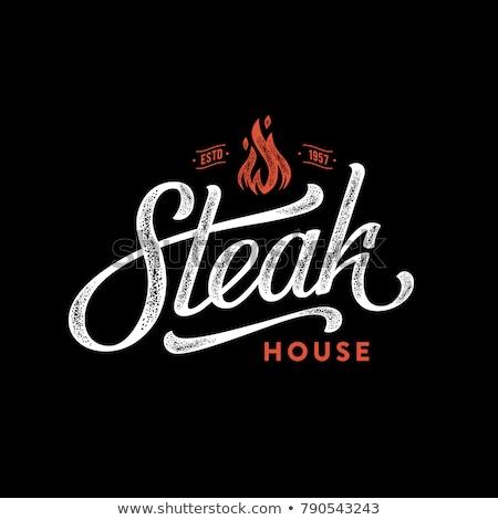Biefstuk grill teken buiten Londen fastfood restaurant Stockfoto © Snapshot