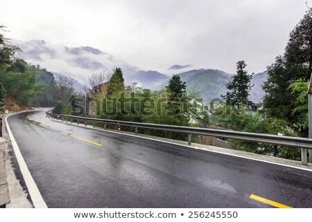 üres vidék út esik az eső Lake District eső Stock fotó © vichie81