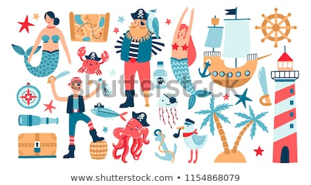 Mermaid with Treasure Chest Stock photo © lenm