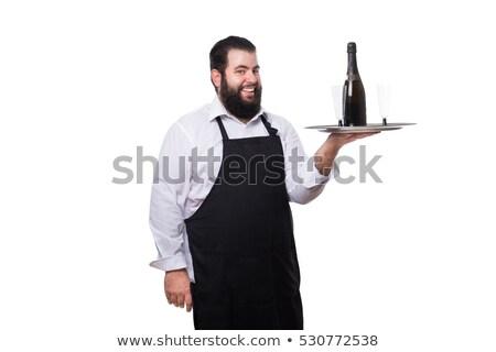Vet man smoking glas wijn te zwaar man Stockfoto © Discovod