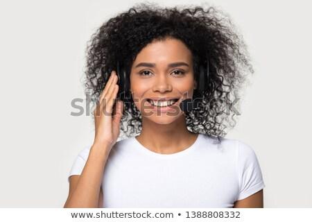 Csinos üzletasszony headset portré izolált fehér Stock fotó © williv
