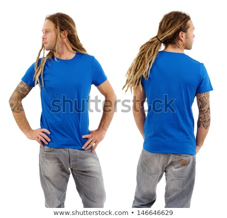 Male with blank blue shirt and dreadlocks Stock photo © sumners