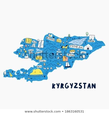 Vlag Kirgizië hand kleur land stijl Stockfoto © claudiodivizia