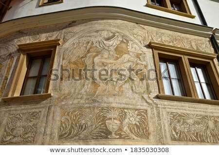 Decorado casa janela grafite parede colorido Foto stock © lunamarina