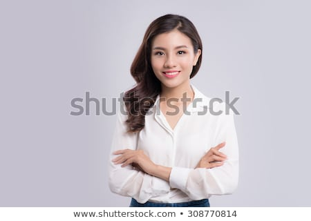 Fiatal gyönyörű barna hajú lány fehér blúz fény Stock fotó © RuslanOmega