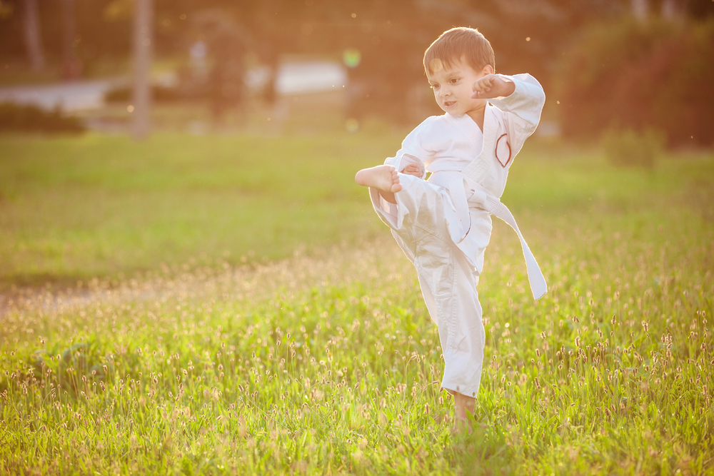 Small kid practicing karate kick Stock photo © stockyimages