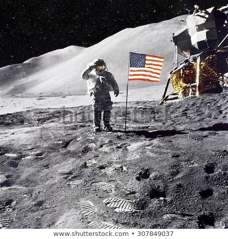 Amerikai zászló hold közelkép felület Föld világ Stock fotó © TaiChesco