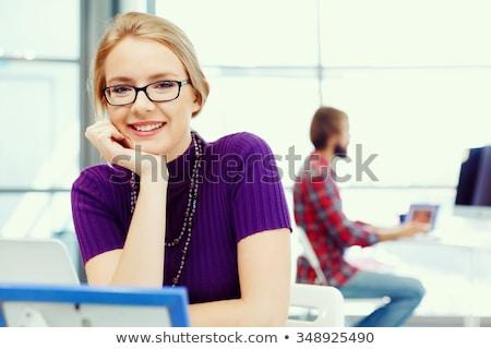 молодые Привлекательная женщина архитектора изолированный белый девушки Сток-фото © AndreyPopov