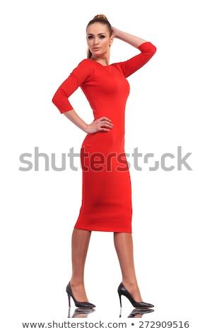 Foto d'archivio: Bellezza · indossare · vestito · rosso · alla · moda · giovani