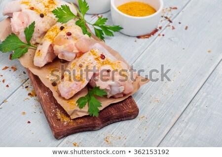 Nyers curry csirkés curry tyúk friss zöldségek kerámia Stock fotó © andreasberheide