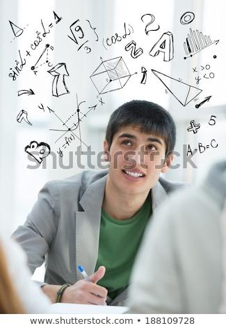 Stockfoto: Student · math · symbolen · jong · meisje · universiteit · meisje
