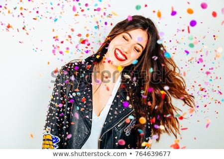Punk nina chaqueta de cuero sonriendo mujer sonrisa Foto stock © Nejron