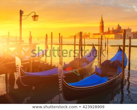 View of Venice with gondolas at sunrise Stock photo © vwalakte